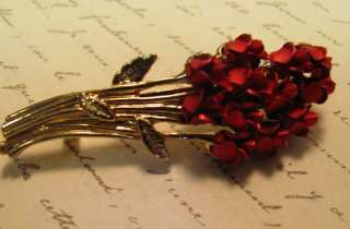 DOZEN Metal RED ROSE BOUQUET Brooch Vintage Pin SIGN W