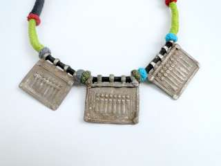 ANTIQUE tribal old silver amulet pendant necklace