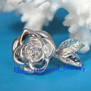 10pcs Magnet Flower White Gold Plated Jewelry Clasps