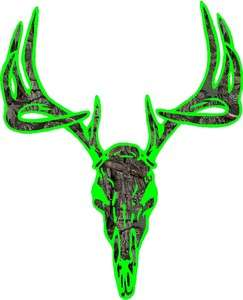 Lime Green camo deer buck skull hunting vinyl graphic decal |