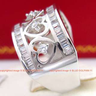 Vintage Genuine Solid 9ct White Gold Engagement Wedding Rings