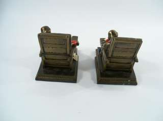 and O Co. Spelter/Pot Metal Book Ends   Old Man In Chair