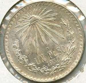 1938 Mexico Silver Peso Coin Plata   c97