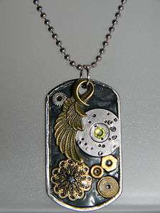 Collage Pendant Watch Parts Angel Wing Black Dog Tag Necklace D138