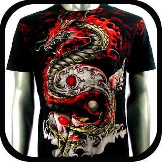 Artful Couture T Shirt Tattoo Dragon Koi Fish AB57 Sz M L XL XXL Heavy