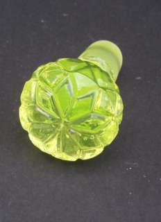 Antique Vaseline Uranium Glass Scent Perfume Bottle d6