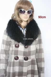 new fashion womens real genuine black raccoon fur collar scarf shawl