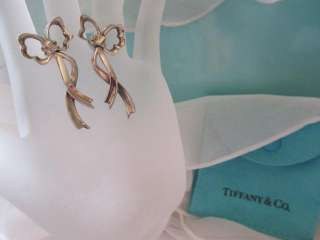 Vintage Tiffany & Co. Bow Ribbon Sterling Silver Earrings