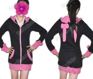 Womens Cute Bunny Ears Warm Sherpa Hoodie Jacket Coat tops Outerwear