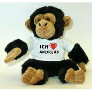 Affe / Schimpanse mit Ich Liebe Andreas T Shirt  Spielzeug