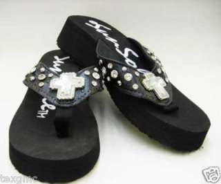 KiDs Western Girls Rhinestone Cross Flip Flops S 11 12