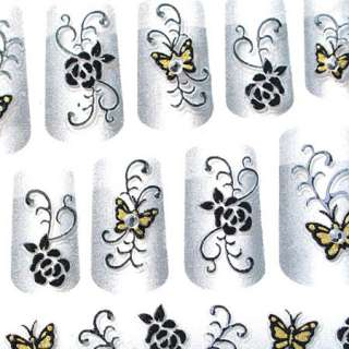 3D Nail Art Sticker Tattoo Schmetterling & Blumen ♥