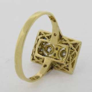 Antique Art Deco Diamonds Sapphires Platinum 18k Gold Ring