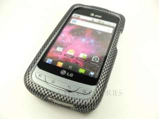 FOR LG PHOENIX THRIVE CARBON FIBER LOOK HARD COVER CASE