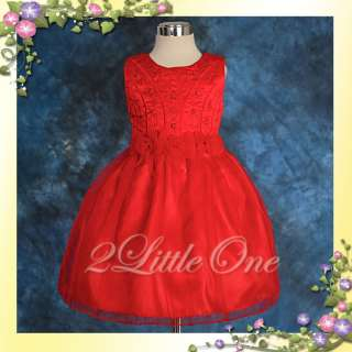 Red Baby Wedding Flower Girl Party Dress Size 18m 24m
