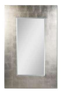 Contemporary Silver Frame Bathroom Mirror Rectangular