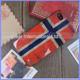 Retro Unique Slim flag Norway Skin Hard case cover for iphone 4 4s