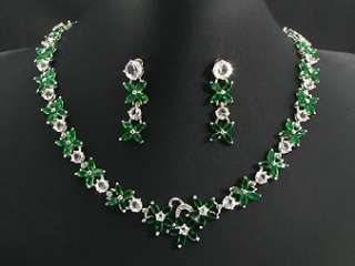 White Gold Plated Green Emerald Necklace Jewellery Set