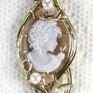 Hand Carved Shell Cameo Pendant 14K Rolled Gold Pearls