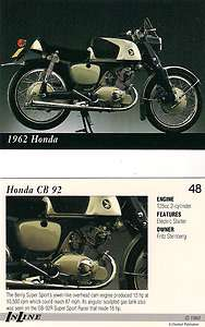 1962 Honda CB 92 Motorcycle   Engine 125cc 2 Cylinder Features