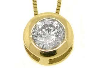 Womens Solitaire Brilliant Round Cut Diamond Pendant 14KT Yellow Gold