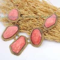 Vintage Golden Chain Pink Resin Beads Pendant Adjustable Necklace