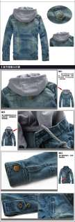 mens denim jean jacket Vintage classic detachable hood XS S M free
