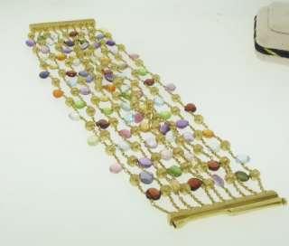 Marco Bicego Paradise 18k Gold Multi Gemstone Wide 10 Strand Ladies