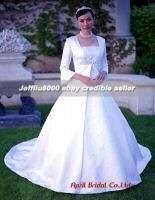 Tank neckline Satin Modest Bridal Wedding Dresses/Gowns