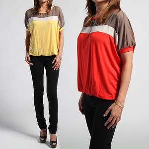 Color Block Dolman BLOUSON TOP Chic Short Sleeve Jersey TEE NEW
