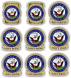 US NAVY Round/Ribbon Vinyl Decal / Sticker   Wife