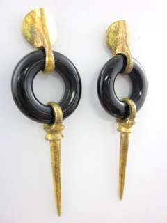 DESIGNER Black Resin Gold Tone Dagger Dangle Earrings