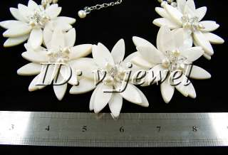 Shell pearl crystal flower necklace/earring set VJ