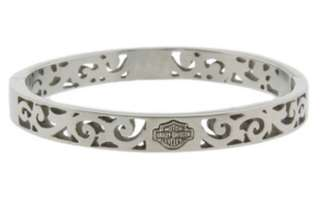 HARLEY DAVIDSON WOMENS SCROLL CUT BANGLE BRACELET #STB1585