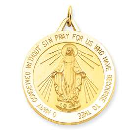 Gold 29mm Miraculous Blessed Virgin Mary Pendant Charm Medal