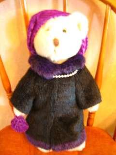 Russ Berrie Teddy Bear Ritz Carlton Grace Purple Coat Gift 1999 Toy