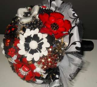 VERY VINTAGE RED BLACK & WHITE Bridal Brooch Bouquet Wedding Flower