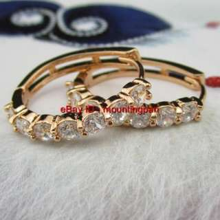 Gold Filled CZ Hoop Earrings Womens GF Bright Zircon Wedding Jewelry
