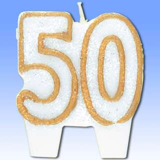 Gold 50th Birthday Moulded Number Shape Candle Party