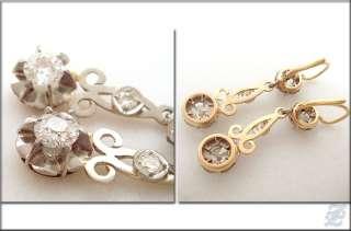 v3809 ANTIQUE 18K SOLID GOLD EARRINGS DIAMOND 1.52 TCW