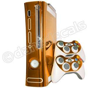 ORANGE CHROME SKIN for Xbox 360 system faceplate mod ki