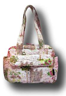 DONNA SHARP PINK GREEN LA BEVERLY HILLS TRAVEL DIAPER AVA TOTE