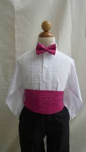 NEW FUCHSIA CUMMERBUND  BOW TIE SET FOR BOY TUXEDO SUIT