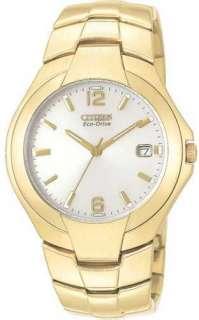 New Citizen Eco Drive Dress Gold Tone White Dial Mens Watch BM0732