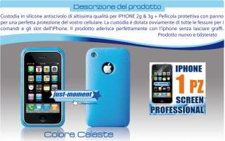 COVER IN SILICONE PER APPLE IPHONE 3G + SCREEN CELESTE