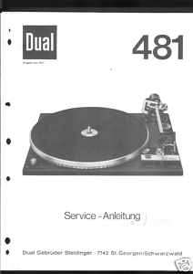 Dual Original Service Manual für Phono 481