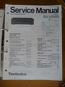 Service Manual Technics SU VX500 Amplifier,ORIGINAL