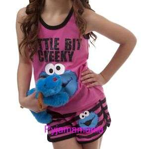Girls Summer Pyjamas Pjs Cookie Monster Set Sze 8