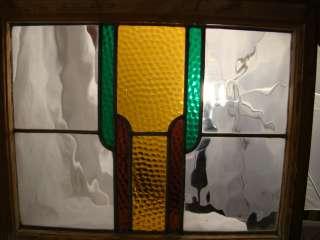 Antique ART DECO era ENGLISH Geometric Shape STAINED Leaded GLASS