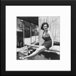 Barbara Rush Custom Framed And Matted B&W Photo Total Size: 20x20
